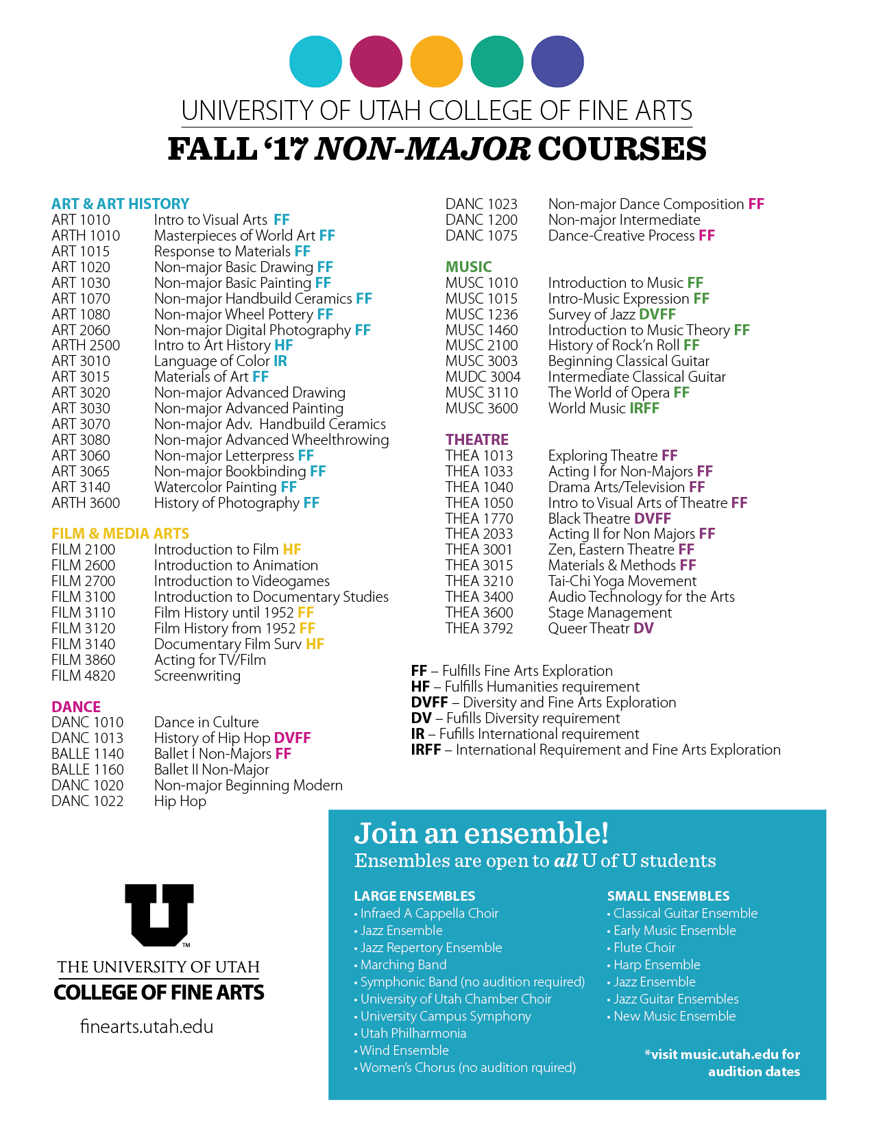 CFA non majors courses Fall 17