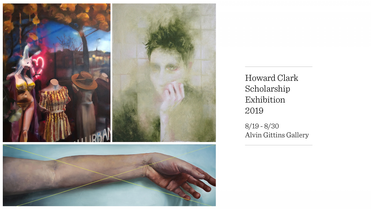 Paintings by Alyssa Hood (top left), Lucy Le Bohec (top right), and Alexis Rausch (bottom)